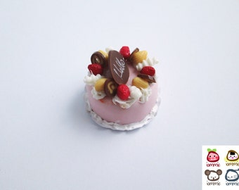 Miniature Fruits Cake, miniature clay cake, food figurine, miniature clay sweet, polymer clay food, mini, dessert, dollhouse, tiny, scale