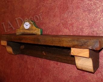 Thick Plank Mantle Shelf -  Reclaimed Wood  Shelf - Barnwood Beam Shelf with Corbles