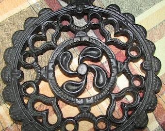 Wrought Iron Trivet, Black Cast Iron Hearts & Laurel Leaf Pattern PA Dutch, Folk Art, Primitive, Ships Free L48 ~ BreezyJunction.etsy.com