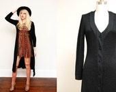 Vintage 60s Black Maxi Cardigan / Long Ribbed BOHO Sweater Dress / Floor Length / Medium