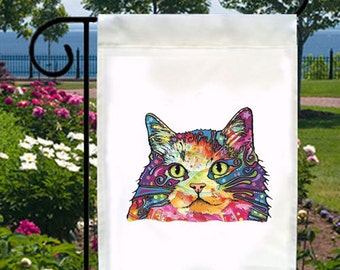 Artsy Neon Cat New Small Garden Yard Flag Gifts Events Kitty Lovers
