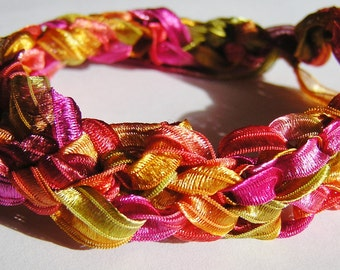 Crocheted Nylon Ribbon Bracelet-Yellow, Pink, Orange, Lime Green Loose fit or Perfect for Larger Wrist