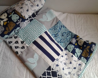 Nautical Baby Quilt, Navy, Turquoise and Gray Whale Nursery Quilt, Turquoise, Navy and Gray Crib Quilt, Nautical Nursery Bedding