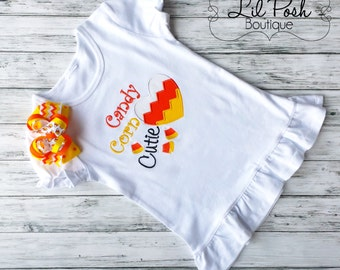 Girls Candy Corn Cutie Halloween Shirt