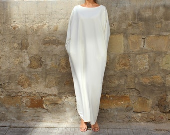 Off White Maxi dress, Caftan, Plus size dress, Plus size clothing, Abaya, Caftan dress, Oversized dress, Fall Winter Dress