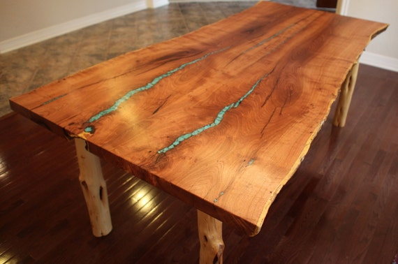 Live Edge Mesquite Dining Table With Turquoise Inlay