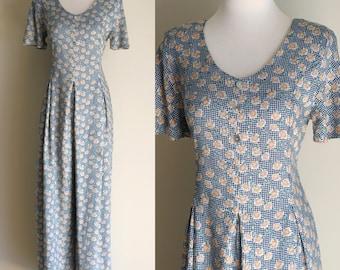SALE: Vintage 90s Floral Palazzo Pant Jumpsuit - Daisy Print Blue Gingham Short Sleeve Playsuit Romper -  Size Medium / Large