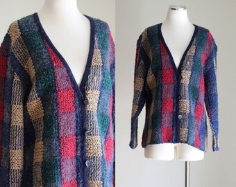 SALE: Vintage 80s Oversized Cardigan - Red and Blue Plaid Cardigan - Fuzzy Warm Winter Cardigan - Wool Blend Sweater - Size Large / XL