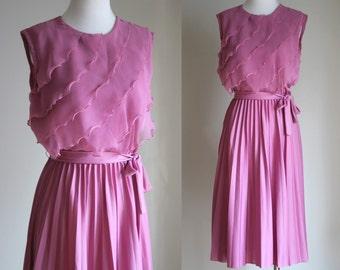 SALE: Vintage 70s Dusty Pink Dress - Sleeveless Bridesmaid Dress - Light Pink Chiffon Party Dress - Pleated Sheer Dress - Size Small