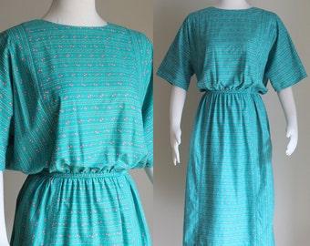 SALE: Vintage 80s Teal Dress - Dolman Sleeve Summer Dress - Cotton Dress - Pink Floral Midi Dress - Batwing Sleeves  - Size Large / XL