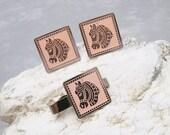 Carousel Horse Cufflinks Tie Tack Set Big Pink Cufflinks H656