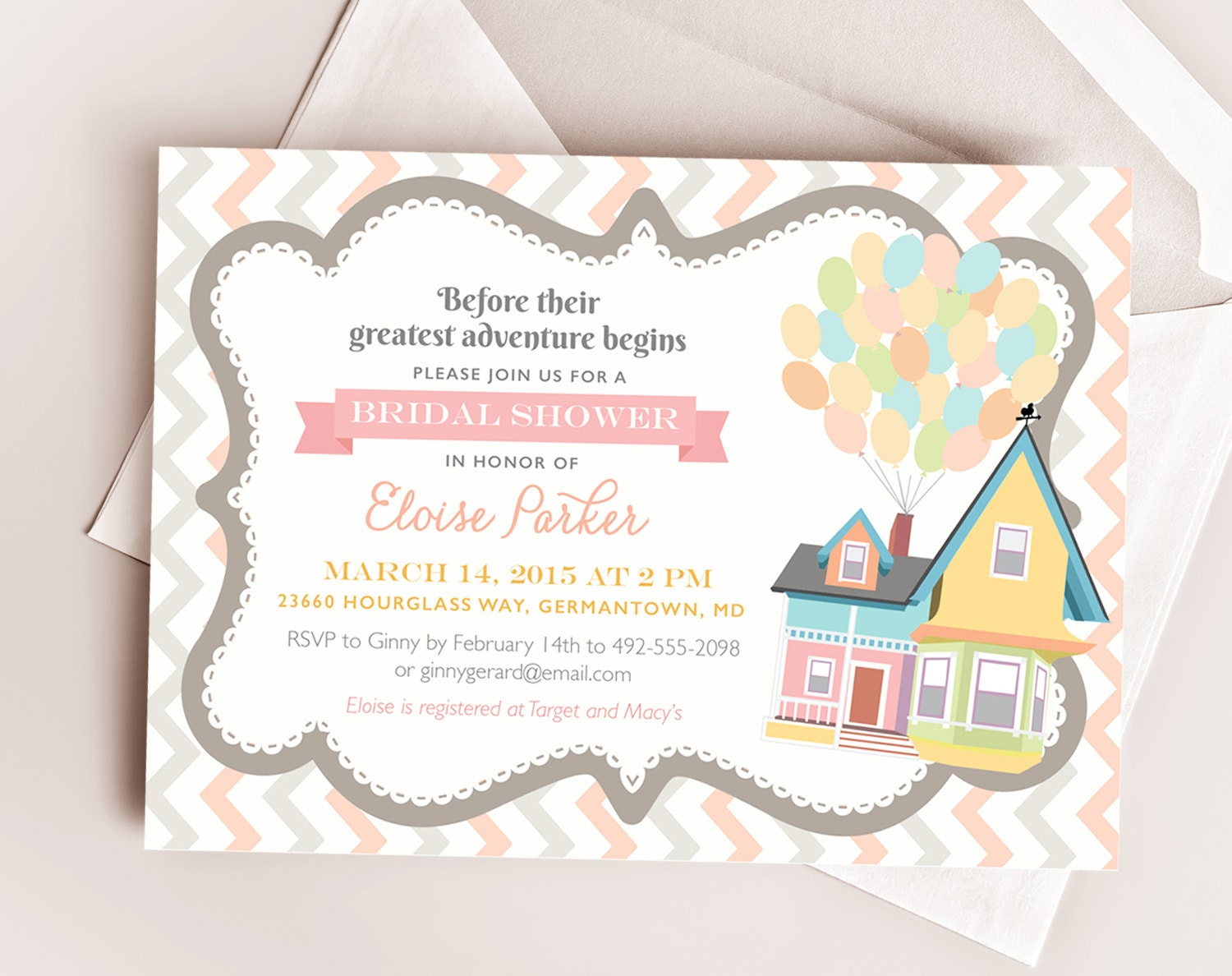 Up Themed Wedding Invitations: Disney UP Wedding Bridal Or Baby Shower Printable By