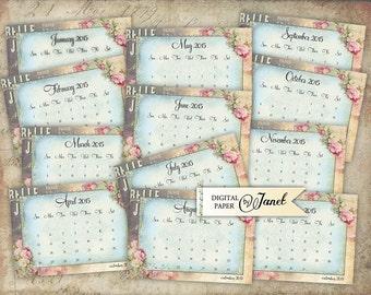 Calendar Cards 2015 - digital collage sheet - set of 12 - Printable Download