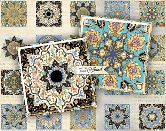 ornaments - squares image - digital collage sheet - 1 x 1 inch - Printable Download