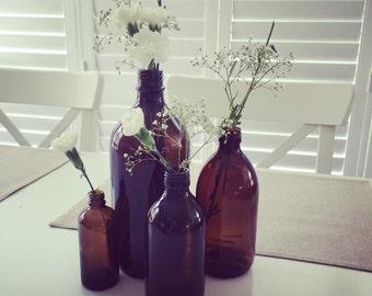 Set of 4 Amber Bottles