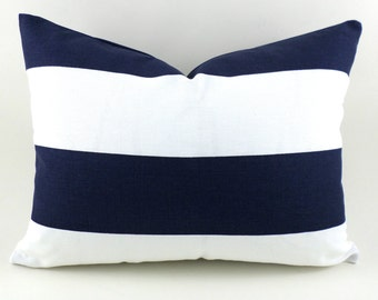 CLEARANCE SALE Blue Lumbar Pillow Cover Premier Prints Vertical Stipe Navy Blue and White