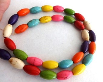 Full Strand of Colorful Rice Turquoise Magnesite Beads