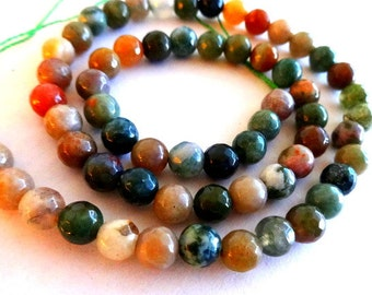 6 mm Faceted Natural India Agate Gemstones Round Loose Beads