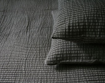Grey Blanket - Bedcover for Bedroom, with linen and cotton
