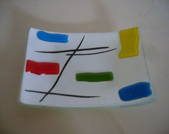 Vintage ART GLASS  Tray of Fused Glass