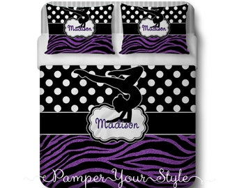 Gymnastics Comforter or Duvet with Matching Sham(s) - Personalized Gymnastics Polka Dot and Zebra Bedding - Glitter Zebra Bedding