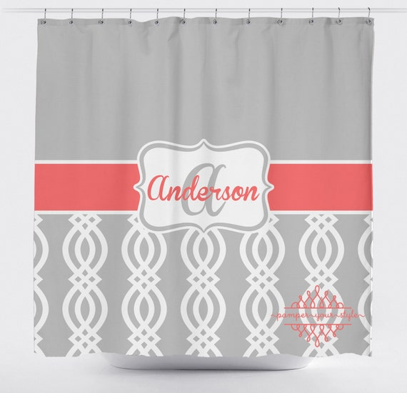 items similar to coral and gray trellis shower curtain lattice shower curtain custom. Black Bedroom Furniture Sets. Home Design Ideas