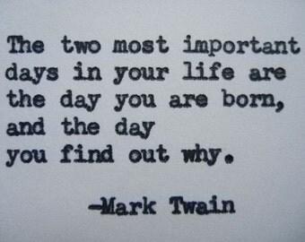 MARK TWAIN Quote Hand Typed on Typewriter