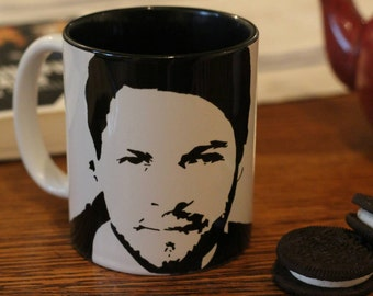 Misha Collins, Castile, Supernatural, Stonehenge Apocalypse, Girl Interrupted, Hand Painted Cup, Hand Painted Cup