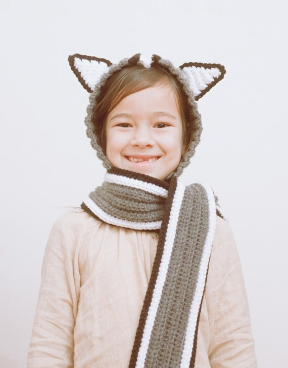Crochet Pattern Hooded Scarf With Ears : Crochet PDF Pattern Hooded Scarf With Ears, Instant Download