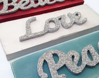Peace, Love, Believe Silver Glass Glitter Holiday Decoration