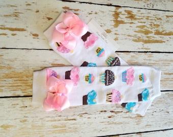 Cupcake Baby Leg Warmers, Birthday Leg warmers with Bows