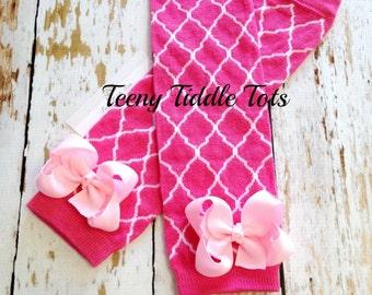 Pink Quatrefoil Leg Warmers, Baby Leg Warmers, Hot Pink Leg Warmers