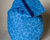 Blue Circle/Dark Blue Reversible Small Japanese Knot Bag