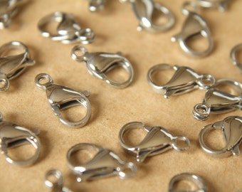 12 pc. Stainless Steel Lobster Clasps, 13mm x 8mm   FI-115