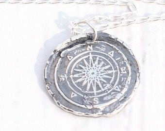 Fine Silver COMPASS Wax Seal Necklace or Charm Nautical Jewelry | Compass Rose Wax Seal Jewelry, Navigation, Talisman True North
