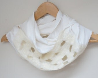 Nuno felted white infinity circle loop shawl wrap scarf silk wool ooak ruffle
