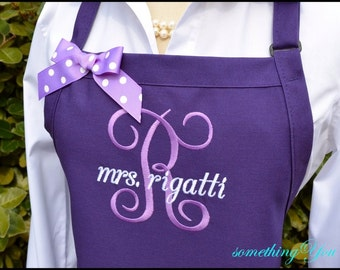 MRS. Wedding Personalized Apron with Initial and Married Name - Personalized wedding aprons, custom purple aprons, wedding shower gifts