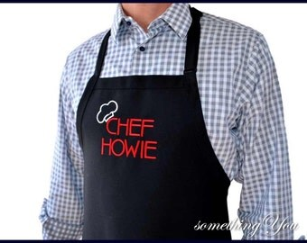 """Personalized Men's Apron with """"Chef and Name"""" - Large Size BIG and TALL mens aprons, men's grilling apron, men's tall apron, men's BBQ apron"""