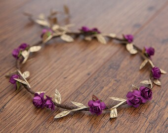 Boysenberry Purple Rose & Gold, Boho Flower Crown ... WEDDINGS, FLOWERGIRLS, CHRISTMAS