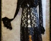 Lace Gothic Steampunk Duster Coat  Goth Wedding Bridal ROMANTIQUE BLACK By Ophelias Folly