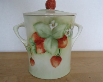 Vintage Hand Painted Strawberries and Blossoms Porcelain Jam Jar Signed & Dated by Artist