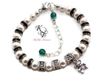Personalized Baby Bracelet, Baby Gift, Baby Shower Gift, Personalized Baby Gift, Teddy Bear Bracelet, Keepsake Bracelet, Little Girl Gift