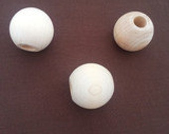 Set of 10 Natural Wooden 1 1/2 inch 1.5 inch Round Wooden Beads Maple Hardwood