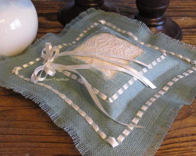 Wedding Ring Pillow, Ivory Aqua Wedding, Rustic Wedding, Aqua Burlap Ring Pillow, Burlap & Lace Wedding, Wedding Ring Bearer Pillow