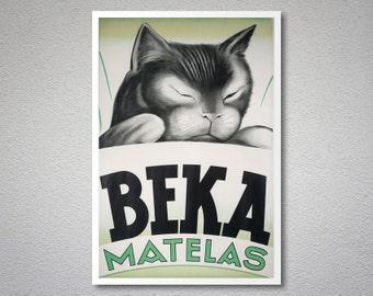 Beka Matelas - Vintage Poster, 1955 - Poster Paper, Sticker or Canvas Print