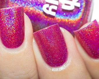 Holographic - Just Beet It:  Custom-Blended Glitter Nail Polish / Indie Lacquer / Polish Me Silly