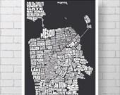 San Francisco Map Print - Custom San Francisco Typography Map with Neighborhoods and Landmarks, Various Colors, Word Map Art Print Poster