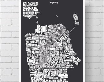 San Francisco Map Print - Custom San Francisco Typography Map with Neighborhoods and Landmarks, Various Colors, Word Map Art Print Poster