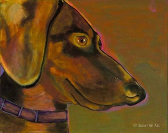 Doxie print of original painting, by Gator Girl Art