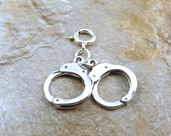 Sterling Silver Handcuffs Charm on 8mm Sterling Silver Spring Ring - 0333